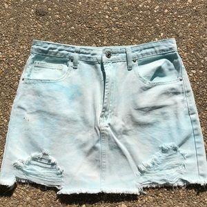 Pastel blue distressed jean skirt
